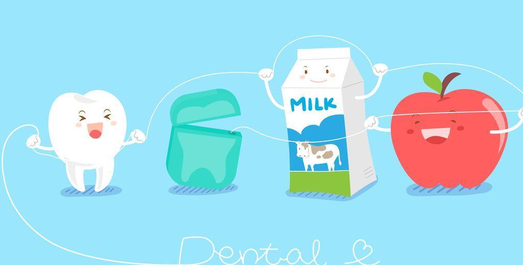 Dibujos diente, hilo dental, leche y manzana